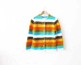 1960s Cardigan / Rainbow Stripe Sweater / Terrycloth Striped Womens Cardigan