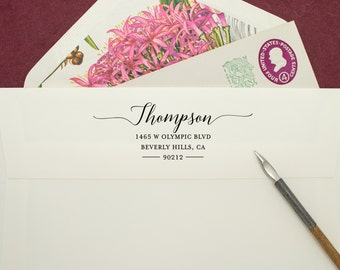 Custom Address Stamp - Wavy Cursive Self Inking Return Address Stamp