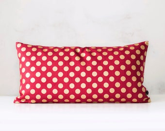 Christmas pillow cover red with gold dots print - decorative covers - shams - throw pillows - polka dot pattern   0306