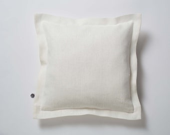 Linen pillow case - decorative pillows, linen euro sham, shabby chic bedding, white euro sham, throw pillow, euro sham  0389