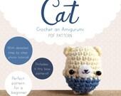 Cat Amigurumi Pattern, Cat Crochet Pattern, Kitty Amigurumi PDF pattern