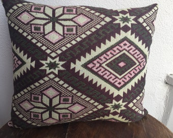 Navajo Pillow Case, Aztec Pillow Case, Vintage Woven Pillow ,Tribal Pillow Case , Brown Pillow Case, Two Sided Pillow Case