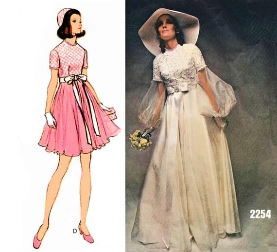 "1970 Vintage Vogue Special Design 2254, High-waisted Bridal Gown or Cocktail Dress, Full Skirt, Short or Bishop Sleeves, Sz 10, Bust 32 1/2"""