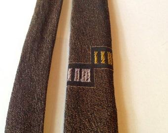 Vintage late 1950s Mens Rayon Skinny Necktie