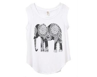 SALE Womens Paisley ELEPHANT Print Short Sleeve Top  Alternative - Ladies' Cap Sleeve T-Shirt S M L XL