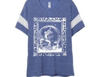 Womens Boho Vintage MERMAID Powder Puff Shirt Trendy Tumblr Tee Top Retro Cotton Fashion Short Sleeve Tshirt S M L XL