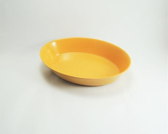 Vintage Melamine Bowl, Oneida Deluxe No 3360 Mustard Yellow Oval Bowl, Melamine Serving Bowl, Mid Century Kitchen, Retro Serving Bowl