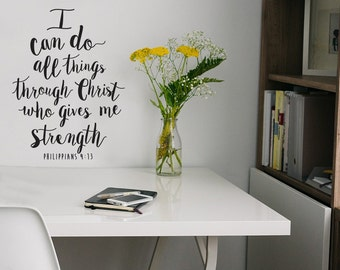 I Can Do All Things Verse - Philippians 4:13 -  Wall Quote Vinyl Decal Sticker for Living Room, Bedroom, Office, Dorm, Kids Room