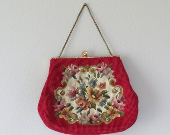 50s needlepoint handbag / vintage handbag / vintage carpet bag