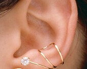 Pair of Wrap ear cuff earrings 14k Gold Vermeil 4mm cubic zirconia and leaf. W23VC. Hand made in U.S.A.