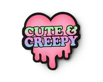 Cute and Creepy Slime Heart Sticker - Pastel Goth, Soft Grunge, Creepy Cute, Pastel Grunge, Goth Kei, Grunge Sticker