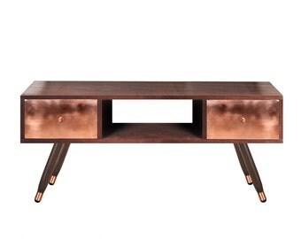 TV unit Krafla Walnut edition. Entertainment unit. Midcentury Modern TV Stand. Copper Furniture. Handmade furniture