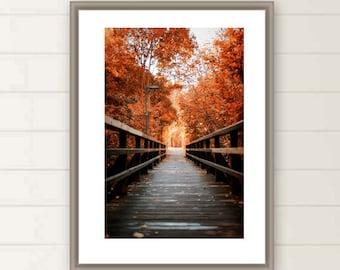 Fall foliage photograph autumn colors print Red leaves Wooden bridge Rustic picture autumn decor large nature print Berlin photo