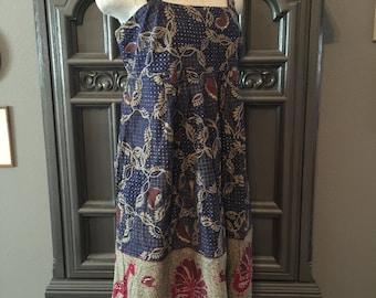 70s Batik Border Print Cotton Shoulder Tie Sundress