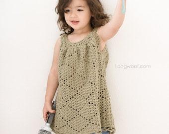 Summer Diamonds Toddler Dress Crochet Pattern