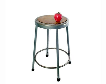 Vintage Industrial Metal Stool - Krueger Metal Products - Barstool - Kitchen Seating - Industrial Decor - Green - Round - Set Available