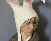 White Rabbit Bunny ears Costume Hat with large posable ears for Alice In Wonderland Cosplay Larp headdress