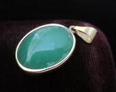 14k Jade Pendant Oval Necklace Green Fourteen Karat Vintage Gold Pendant