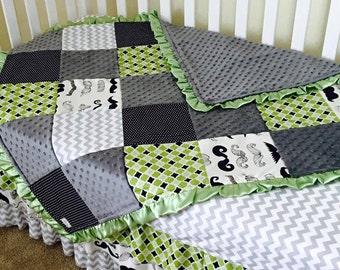 Custom Grey Chevron Green Mustache Crib Set