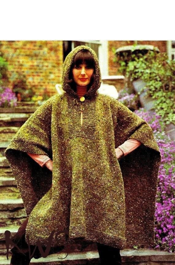 Vintage 70s Knit Hooded Poncho Cape Pdf Pattern Uk