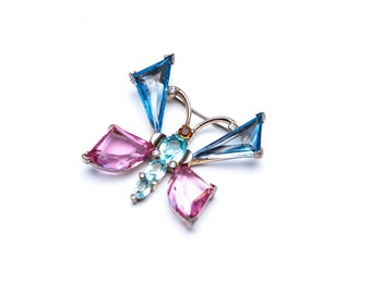 Vintage Mazer Butterfly Brooch Pin Aquamarine, Light Sapphire and Rose Glass Signed