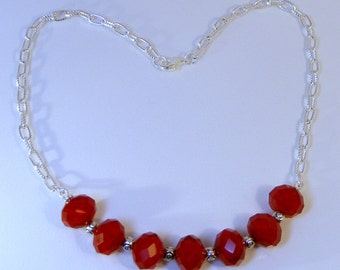 RED CRYSTAL and ROSE Necklace