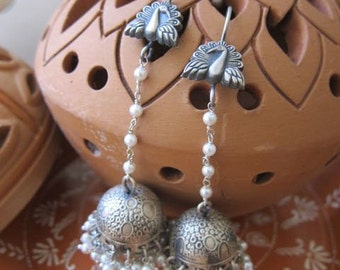 Pure silver - Pearls and peacocks - Long Jhumka