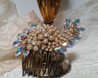 SWEPT AWAY VINTAGE Bridal Hair Comb Assemblage Pearls Rhinestone Collage One of a Kind Heirloom Champagne Elegant Graceful Couture Mother