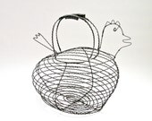 Vintage French Wire Chicken Egg Collecting Basket