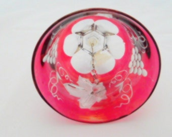 Crystal Bell, Grapes and Leaves Pattern, Ruby Red Bell