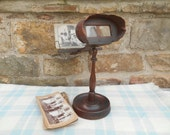 Antique Stereoscope Stereoview Card Viewer on Wood Pedestal Stand 3-D with 10 Cards Collectible Rare Photo Prop