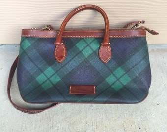 Dooney and Bourke Vintage Plaid Leather Crossbody Purse