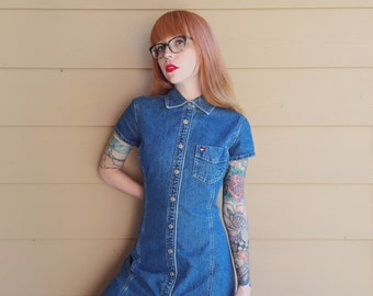Tommy Hilfiger Collared Button Up Oxford Denim Blue Jean Mini Dress // Women's size Small S