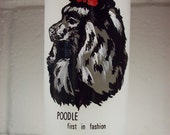 SOLD TO LYNN Atomic Era Poodle Drinking Glass Etched Black Red Mid Century Tumbler
