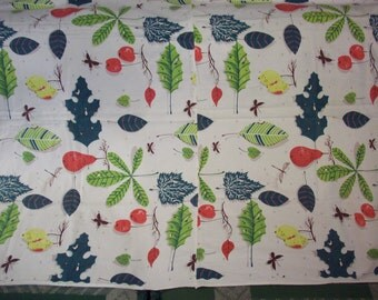 WAVERLY SPRING SONG Fabric Vintage Re-Purpose Cutter 1950's Dragonflies Leaves Fruit