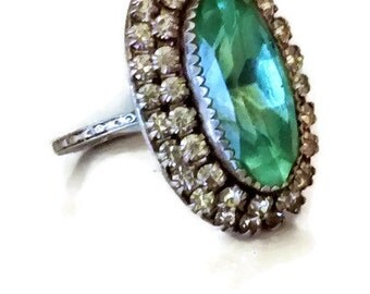 Art Deco Aquamarine Rhinestone Cocktail Ring, Signed Martelli Sterling Silver, Vintage 19 20's Crystal Rhinestones, SZ 6.5