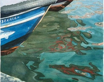 Watercolour Giclée print colourful Venetian fishing boats with reflections on water, confetti