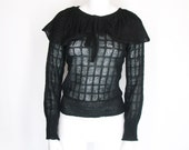 80s Pussy Bow Knit Top Goth Gothic Vampire Rock Boho Chic Prairie Flouncy Sweater Punk 1980s Glam Disco Minimal Elegant