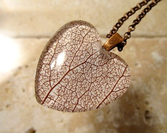 Skeleton Leaf of Salal Heart Necklace, Leaf Jewelry, Plant Jewellery, Woodland, nature, rustic, forest, Antique Copper