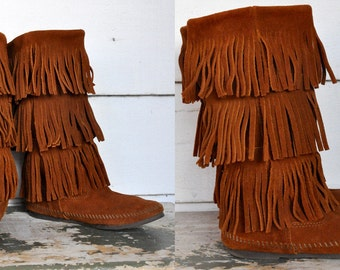 MINNETONKA Mid Calf Fringe Boots Brown Suede Moccasins Leather with 3 Layers Fringes Fringed Native American Hippie Boho Festival size 6