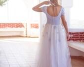 Long Wedding Dress, 50s Wedding Gown, Blue Bridal Dress, Blue Lace Dress, Tulle Wedding Gown, Long Bidal Dress, Handmade Wedding Dress