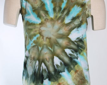 Lady's   Tank Tops, Cotton,  Ice Dyed Tie Dyed In a Green and Gold Spiral  Design, Made to Order