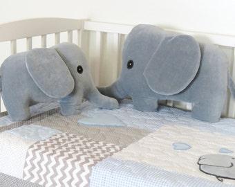 Elephant Pillows, Gray Plush Jungle Animal, Stuffed Elephant, Baby Gift