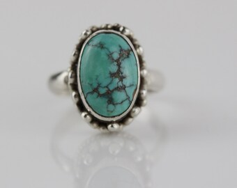 Silver Tone Oval Turquoise Stone Centre Ring Bohemian Style   US size 5.25   UK size K