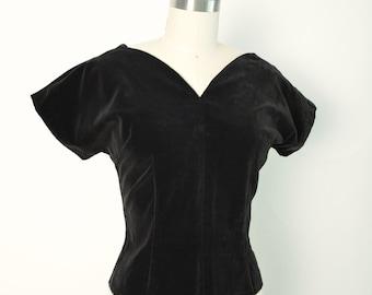 Vintage 1950s 50s Velvet Blouse Black Velveteen Rockabilly Top