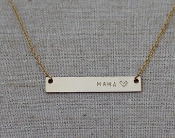 Gold Bar Mama Necklace - Gold Mom Necklace - New Mom Necklace - Mother's Day Gift