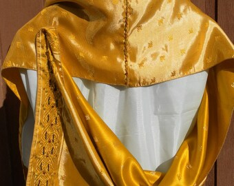 Gold satin reversible sari hand beaded shawl