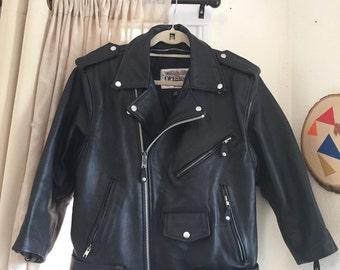 VINTAGE 1990's Black Genuine LEATHER JACKET Grunge Biker Motorcycle Unisex Small