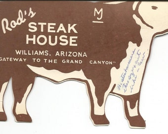 Vintage Rod's Steak House Cow Menu  Williams, Arizona