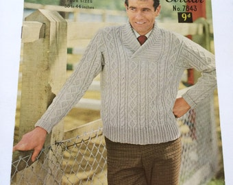 Sirdar 7843 Man's Aran Jumper knitting pattern 1960s